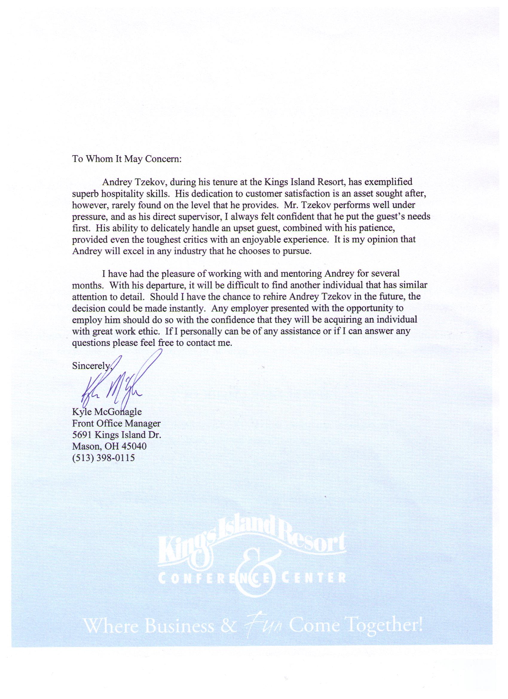 Recommendation Letter From Manager Letter Of Recommendation Thesis